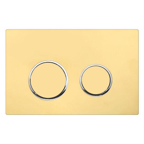 دکمه گرد طلایی رینگ کروم