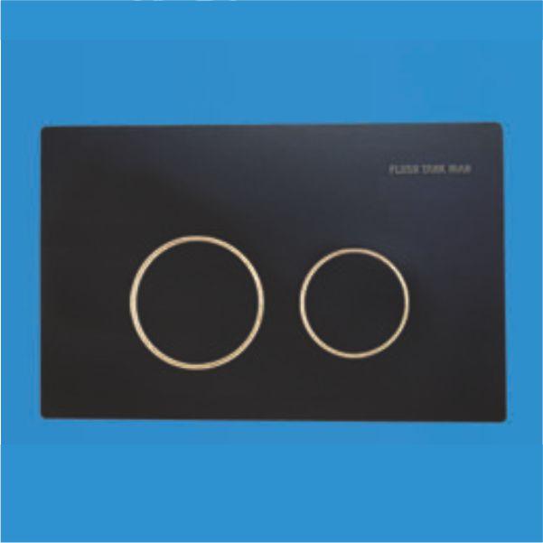 دکمه گرد مشکی رینگ طلایی